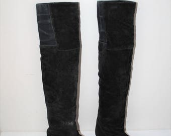 black suede over the knee boots 80s vintage thigh high womens boots size 6