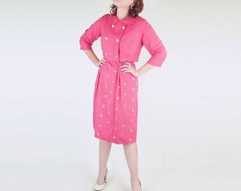 50s Honeysuckle Pink Embroidered Sheath Dress with Jacket M L