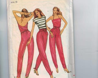 1970s Vintage Sewing Pattern Butterick 3127 Convertible Halter Jumpsuit Tie Front Designer Nancy Stolkin Size 8 Bust 31 1/2 Waist 24 70s