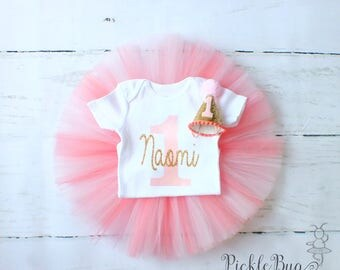 Personalized Coral Cake Smash Outfit Girl, Pink and Coral First Birthday Outfit Girl, 1st Birthday Outfit Girl, Pink and Gold 1st Birthday