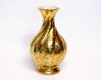 Vintage Weeping Gold Ceramic Vase with Spiral Design