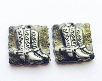Cowgirl Cowboy Boots Handmade Polymer Clay Focal Beads
