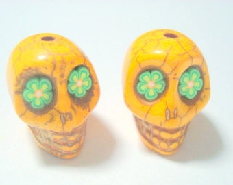 Green Flower Eyes in Butterscotch Howlite Sugar Skull Beads