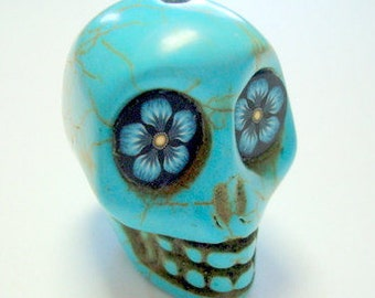 Gigantic Turquoise Howlite Sugar Skull Bead or Pendant  with Daisy Flower Eyes