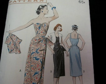 Vintage 1950's Butterick 6056 Dress and Bolero Jacket Ensemble Size 14 Bust 32