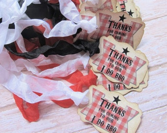 Wedding Favor Tags - Thank You Barbecue Tags - Set of 18 - I Do BBQ - Choose Ribbons - Vintage Rustic Backyard Wedding