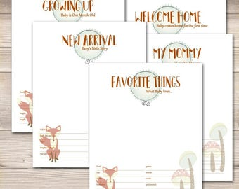 Fox Woodland Theme Baby Book Pages-Your Choice Pages!