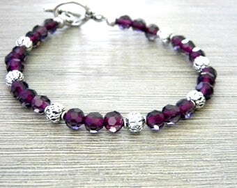 Purple Glass Bracelet Beaded Bracelet Toggle Clasp Round Silver Colored Beads