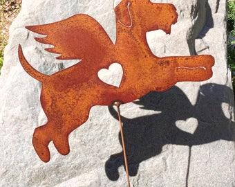 Rusty Finish Metal Garden Art Airedale Terrier Angel Dog Angel Memorial Yard Stake