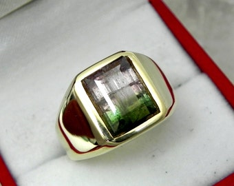 AAA Watermelon Tourmaline 10x7mm  3.73 Carats   Heavy 14K Yellow gold Emerald cut Mans ring 15-16 grams 1771