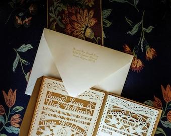 Papel Picado Wedding Laser Cut Invitation, Rsvp Cards, And Pockets  Including Envelopes For Invite