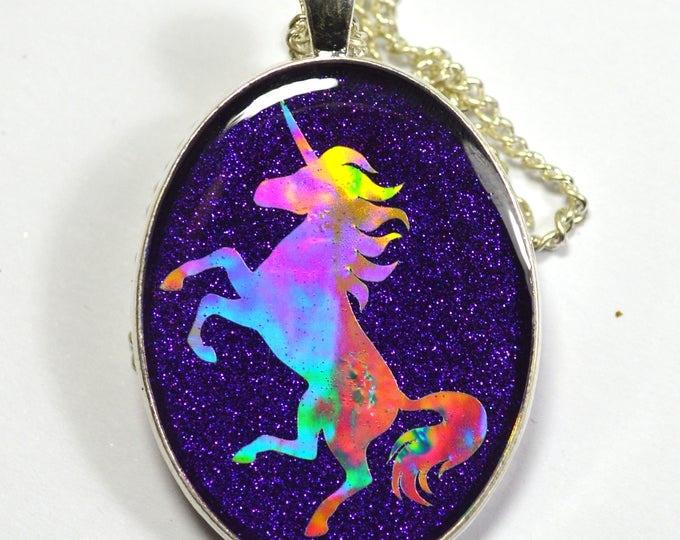 Purple Holo Holographic Unicorn Silhouette Pendant