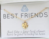 Best Friend Gift • Four Leaf Clover Necklace • Clover Charm • Lucky Charm • Clover Necklace • Shamrock Necklace • Friendship Jewelry • BF01