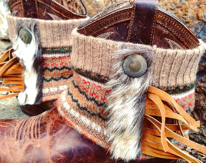 Fair Isle Sacagawea Mini Boot Sweaters, Mongolian Faux Fur, Suede Fringe, Boot Cuffs, Boot Toppers, Boot Accessories // Made to Order