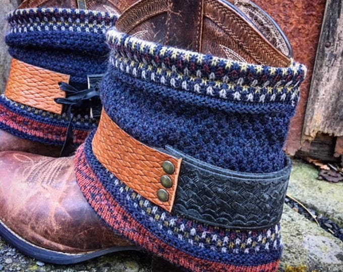 Harvest Fair Isle Mini Boot Sweaters & Multi Leather Boot Belts Set, Boot Cuffs, Boot Toppers, Boot Accessories // Ready To Ship To You