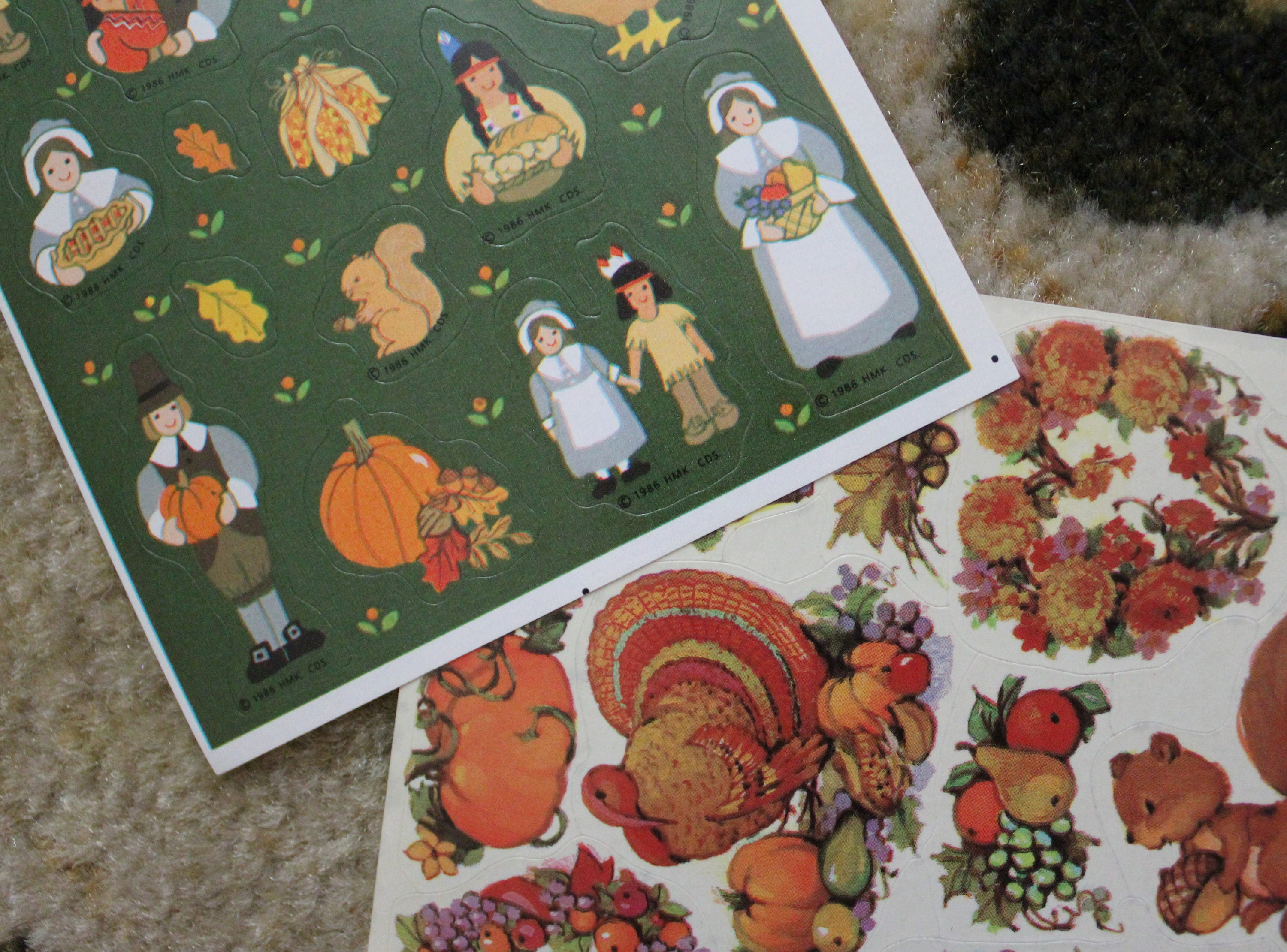 Two different sheets of vintage 80s american greetings hallmark two different sheets of vintage 80s american greetings hallmark thanksgiving stickers kristyandbryce Choice Image