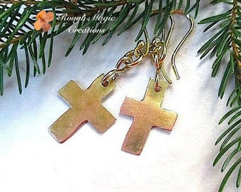 Christian Earrings, Mixed Metal Jewelry, Handmade Rustic Copper Rugged Cross, Religious Statement, Gold Brass, Primitive Metalwork  E394A