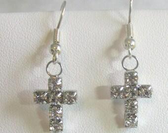 Mini rhinestone cross earrings
