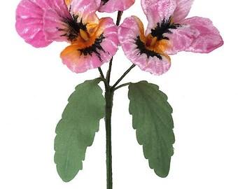 Spray of Large Pink and Orange Velvet Pansies ~ Czech Republic  NFC 047-PK