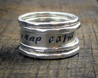 Sterling Stacking Rings  with custom stamped word - MADE TO ORDER