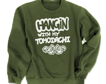 Best Friends Sweatshirt TOMODACHI cute Japanese sweatshirt kawaii sweater hipster clothing Japan geek anime convention