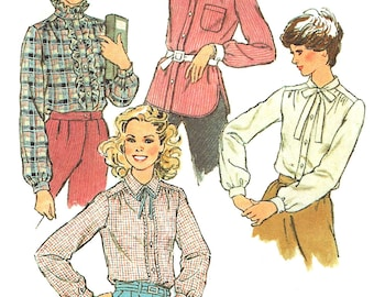 1970s Blouse Pattern Simplicity Vintage Sewing Ruffled Top Tie Collar Shirt Women's Misses Size 12 Bust 34 Inches