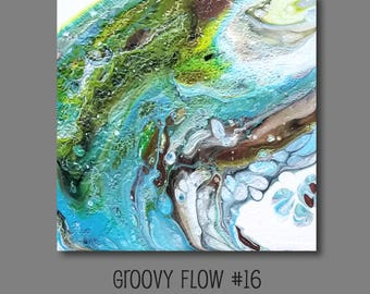 Groovy Abstract Acrylic Flow Painting #16 Ready to Hang 8x8