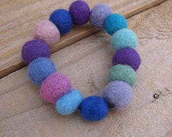 Felt Beads Bracelet - Purple, Turquoise and Blue Wool Fabric Cuff