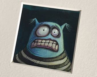"""NEW MINIATURE! """"Dune McShakes"""", original miniature mixed media 2"""" x 2"""" matted to 6x6"""" monster, silly, blue guy, illustration, painting"""