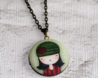 Girl Locket Necklace, Girl in Hat Necklace, Christmas Jewelry