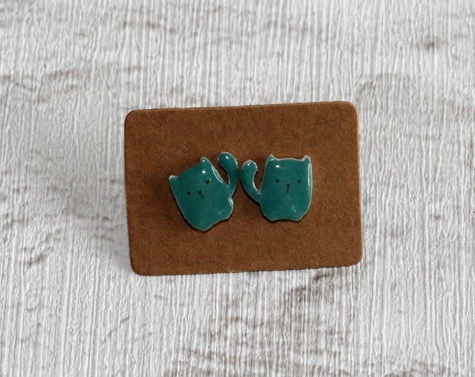 Green Cat Earrings, Teeny Tiny Earrings, Cat Jewelry, Cute Earrings