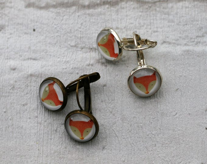 Red Fox Earrings, Illustration Dangle Earrings, Fox Earrings