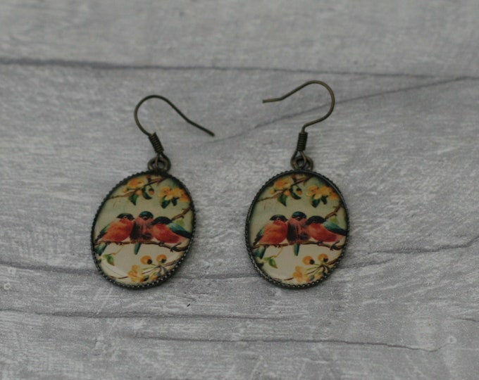 Red Bird Earrings, Bird Jewelry, Animal Accessory