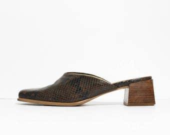 1990s Brown Snake Print Mules Block Heels Platforms