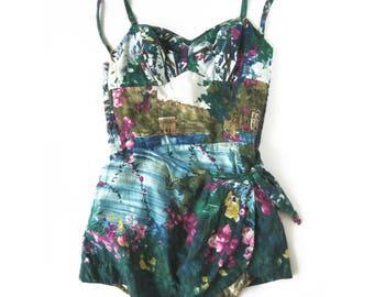 Vintage Pin-Up Style Swimsuit Bathing Suit / Sarong Front / Kahala / Hawaiian / Vintage Romper PLAYSUIT / Tiki Style Aloha / Rockabilly