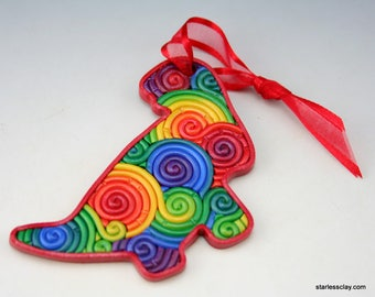 Rainbow Dinosaur Mini Ornament in Fimo Filigree Polymer Clay Christmas Decoration