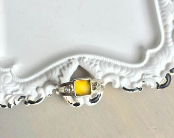 Yellow Chalcedony Ring, Square Cabochon, Sterling Silver, White Topaz, Double Band, Hammered Ring, Size 7.5