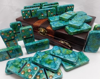 Dominoes 'Pirate's Booty' Hand Painted 28 Piece Standard Size Double Six Domino Set in Leather-look Briefcase alcohol ink instructions gold