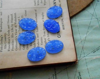 6 floral flower blue glass cabs  8 x 13- vintage old new stock made in japan jewelry supplies