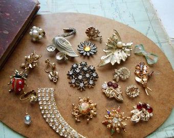 19 pc antique vintage rhinestone junk jewelry supplies destash craft lot - jewelry making supplies, vintage jewelry pieces