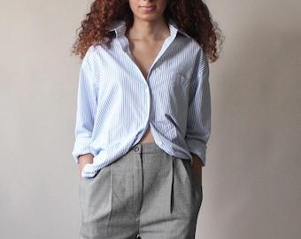 vintage blue striped shirt | long sleeve button up top | 1990s xs - medium
