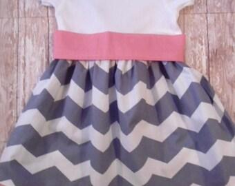Girls Gray Chevron Dress, Birthday Dress, Girls Dress, Ready To Ship, Size 24M