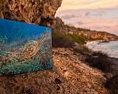 Sea Turtle Soaring along a Deep Blue Ocean Reef, Original Underwater Photography, Ocean Art Print on Aluminum, Metal Wall Art