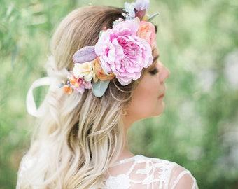 bridal flower crown, peach flower crown, pastel flower crown, light pink crown, wedding headpiece, lambs ear, bridal hair piece, romantic