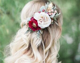 burgundy wedding headpiece, bridal hair clip flower, cream flower, burgundy hair clip, fall wedding hair accessories, wild raspberries, leaf