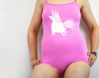 Bodysuit with Pink unicorn and fluffy unicorn fur