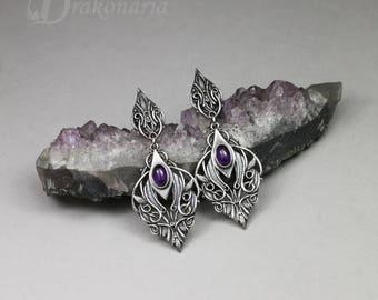 Sindarin - Narn - elven earrings, silver with amethyst, limited collection, amethyst earrings, Tolkien, elves, knotwork, silver, purple