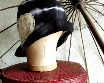 Black Sibori Cotton Cloche Hat featuring Embroidered Applique