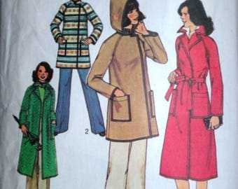 Vintage 70's 7936 Sewing Pattern, Misses' Unlined Coat And Jacket With Detachable Hood. Size 14, 36 Bust, Retro 1970's