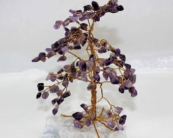 Amethyst Gemstone Tree, Quartz Base, Feng Shui, 160 Gem Chips, Handmade Wire Tree Sculpture, Birthstone Tree, Bonsai Gem Tree, Money Tree